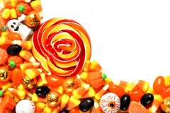 Pile of Halloween candy over white Royalty Free Stock Photography