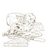 Pile of hand drawn cheese cheese knife. Vector hand drawn illustration Stock Photography
