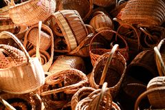 Pile of handmade vine baskets on a market Royalty Free Stock Images