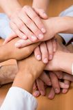 Pile of hands. Image of business partners hands on top of each other Royalty Free Stock Photos