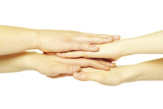 Pile of hands Royalty Free Stock Images