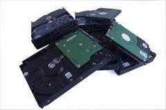 Pile of hard drives gibabytes and terabytes royalty free stock image