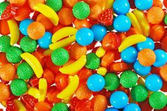 Pile of hard fruit candy Stock Images