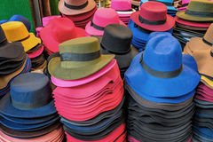 Pile of hats in market Stock Image
