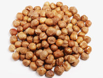 Pile of Hazelnuts. Pile of raw Hazelnuts, top down view Royalty Free Stock Images