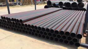 Pile of HDPE Pipes. In the plant Royalty Free Stock Photos