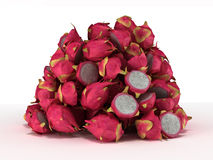 Pile or Heap of Dragon Fruit over white Stock Image
