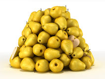 Pile or Heap of pears over white Royalty Free Stock Image