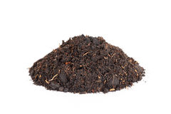 Pile heap of soil humus isolated on white background Royalty Free Stock Images