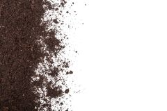 Pile heap of soil isolated on white background with copy space for your text. Top view Royalty Free Stock Photos