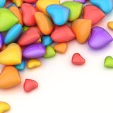 Pile of hearts over a surface Stock Photo