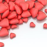 Pile of hearts over a surface Royalty Free Stock Image
