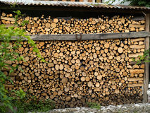 Pile of heavy cut wood logs Stock Image