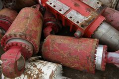 Pile of heavy red industrial scrap iron metals Royalty Free Stock Photo