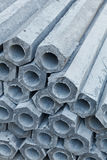 The Pile of Hexagon Concrete Foundation Piles Stock Image