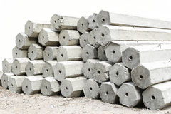 The pile of hexagon concrete foundation piles isolated Royalty Free Stock Photo