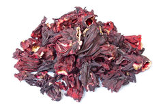 Pile of Hibiscus tea isolated on wite. Background. Side view Royalty Free Stock Photos