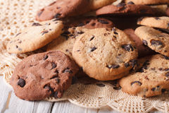 Pile of homemade chocolate chips cookies closeup Stock Image