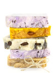 Pile of homemade soap  isolated on white Royalty Free Stock Photos