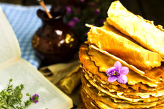 Pile of homemade wafers with flowers Stock Images
