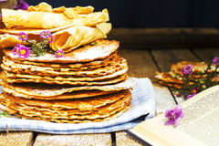 Pile of homemade wafers with flowers Royalty Free Stock Photo