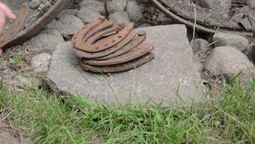 Pile horseshoe stone stock video footage