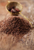 Pile of hot chocolate flakes  on wooden background Royalty Free Stock Photography