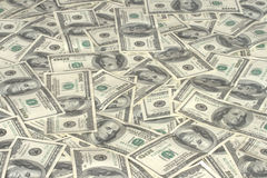 Pile of hundred dollars. Bank notes Stock Photography