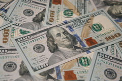 Pile of hundred dollars bank notes. Money background - hundred american dollars Stock Photos