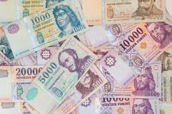 Pile of Hungarian Forint banknotes - background Stock Image