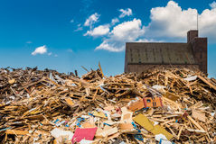 Pile of idustrial wooden waste Royalty Free Stock Photo