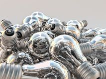 Pile of incandescent bulbs. 3D rendering of background of many incandescent light bulbs Stock Photo
