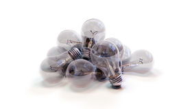Pile of Incandescent Lightbulbs. A pile of several discarded, burned out incandescent lightbulbs, on a white background Royalty Free Stock Photo