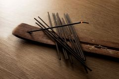 Pile of incense sticks stock images