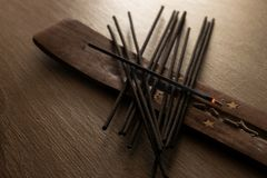 Black incense sticks royalty free stock image