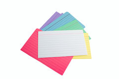 Pile of index cards. A pile of colored index cards royalty free stock photo