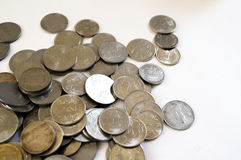 Pile of indian coins isolated on white. Coins have seen a huge surge in popularity due to the recent demonetization and financial turmoil Royalty Free Stock Image
