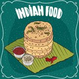 Pile of Indian round flatbread with sauces Royalty Free Stock Image