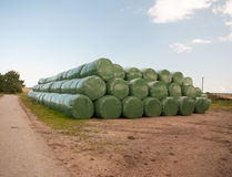 A pile of industrial green plastic bagged bales of hay wheat Royalty Free Stock Photo