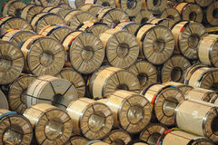 Pile of industrial rolls stock image
