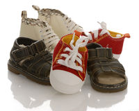 Pile of infant or baby shoes Stock Images