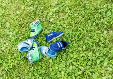Footwear on grass royalty free stock images