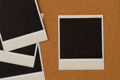 Pile of instant photo on cork Stock Photography