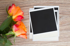 Pile of instant photo with roses Stock Photography