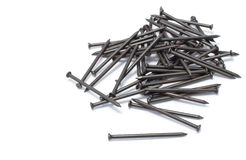Pile of iron nail. On white background royalty free stock image