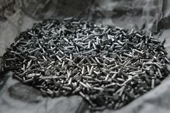 Pile of iron nails for background. Dark Tone Stock Photography