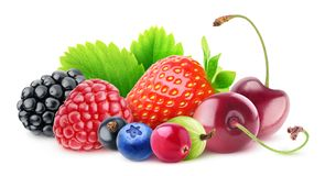 Pile of isolated fresh berries stock images