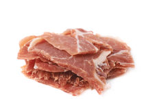 Pile of jamon slices isolated Stock Image