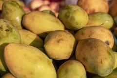 Pile jaune de fruit de mangue au soleil Photo de plan rapproché de fruit tropical Tas organique de mangue sur le marché rustique photographie stock libre de droits