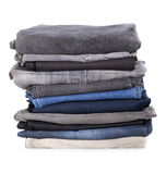 Pile of jeans. Isolated on white background royalty free stock image